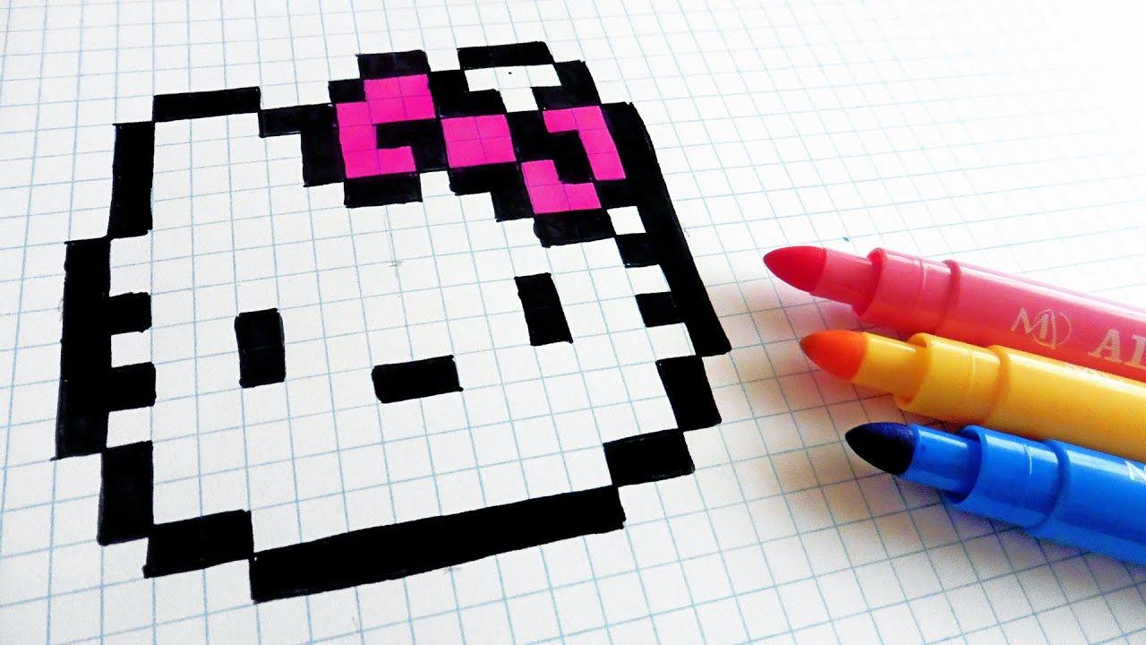 9c34ef056 Handmade Pixel Art - How To Draw Hello Kitty #pixelart - YouTube