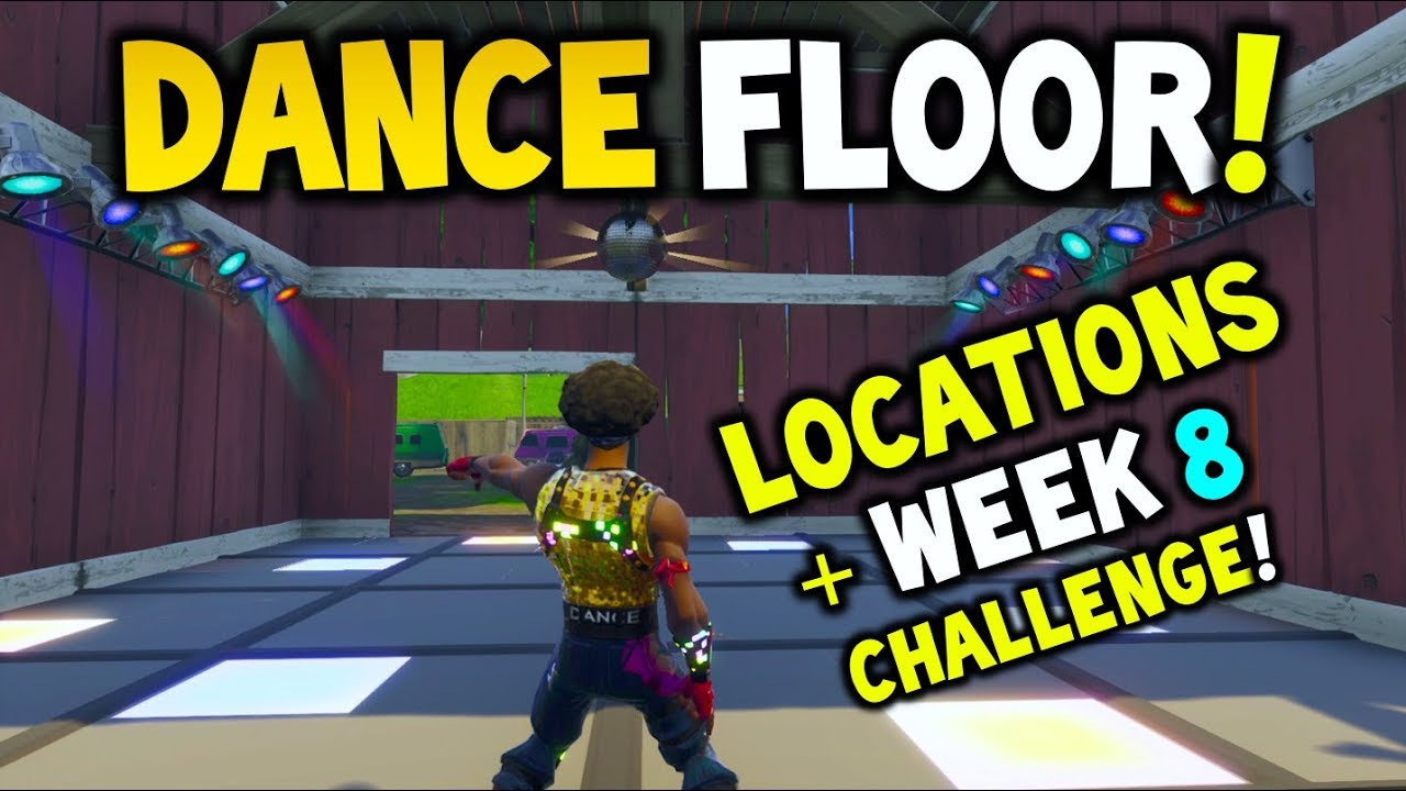 fortnite dance on different dance floors dance floor locations week 8 challenge battle royale - fortnite dance floors challenge