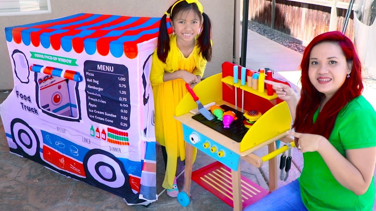 Wendy Pretend Play Cooking With Food Truck Tent Wooden