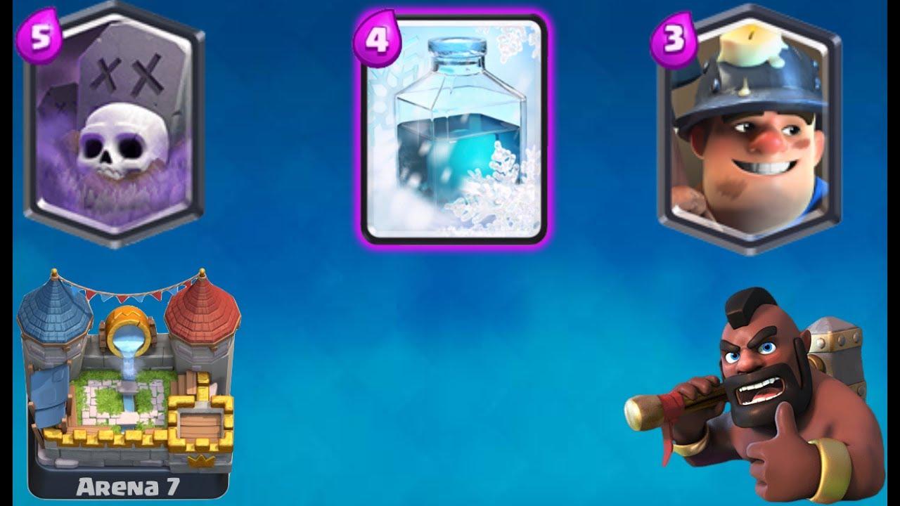 clash royale graveyard freeze deck arena 7