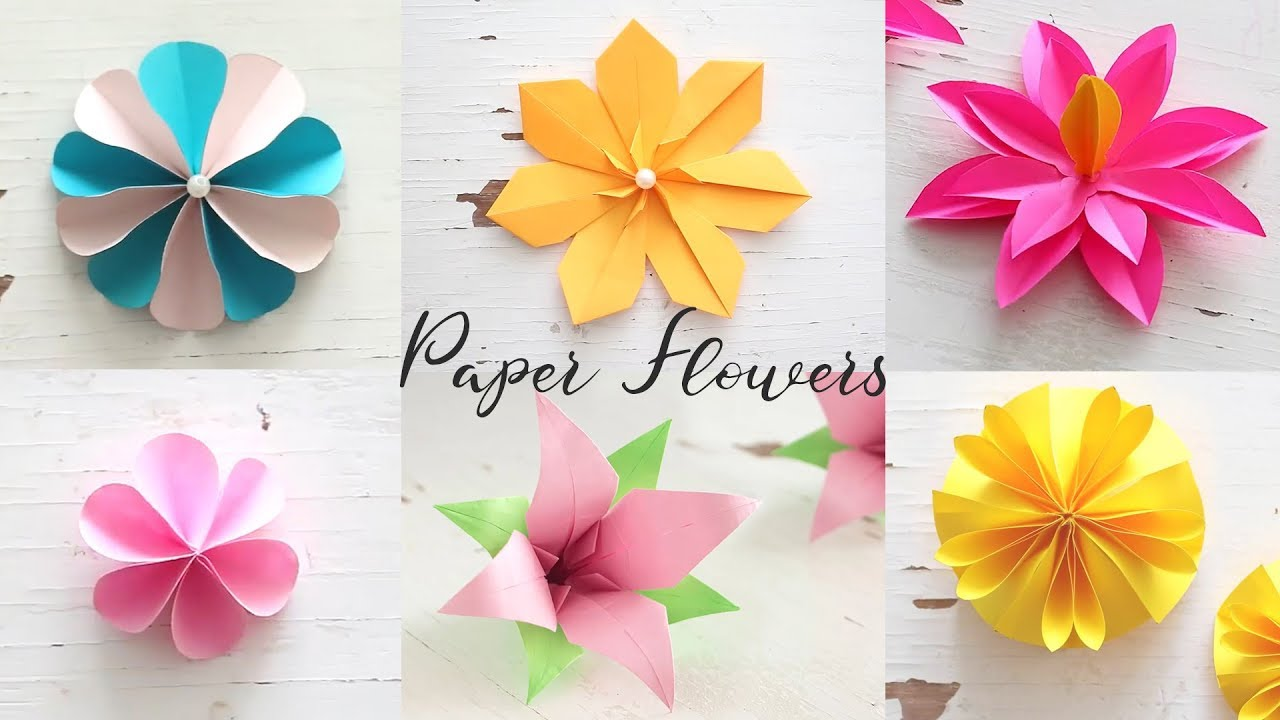 6 easy diy paper flowers flower making youtube 6 easy diy paper flowers flower making mightylinksfo