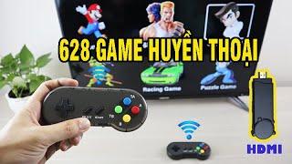 Máy chơi game 4 nút HDMI tay cầm không dây PK06 - Tích hợp 628 game Contra, Battle City, Super mario