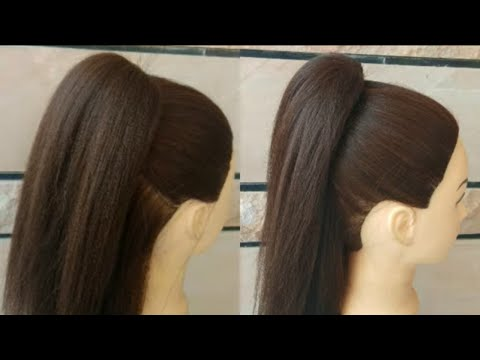 AWESOME HIGH VOLUMNAIZED PONYTAIL WITH EASY TRICK FOR GIRLS\\ EASY HAIRSTYLE FOR COLLEGE GIRLS thumbnail