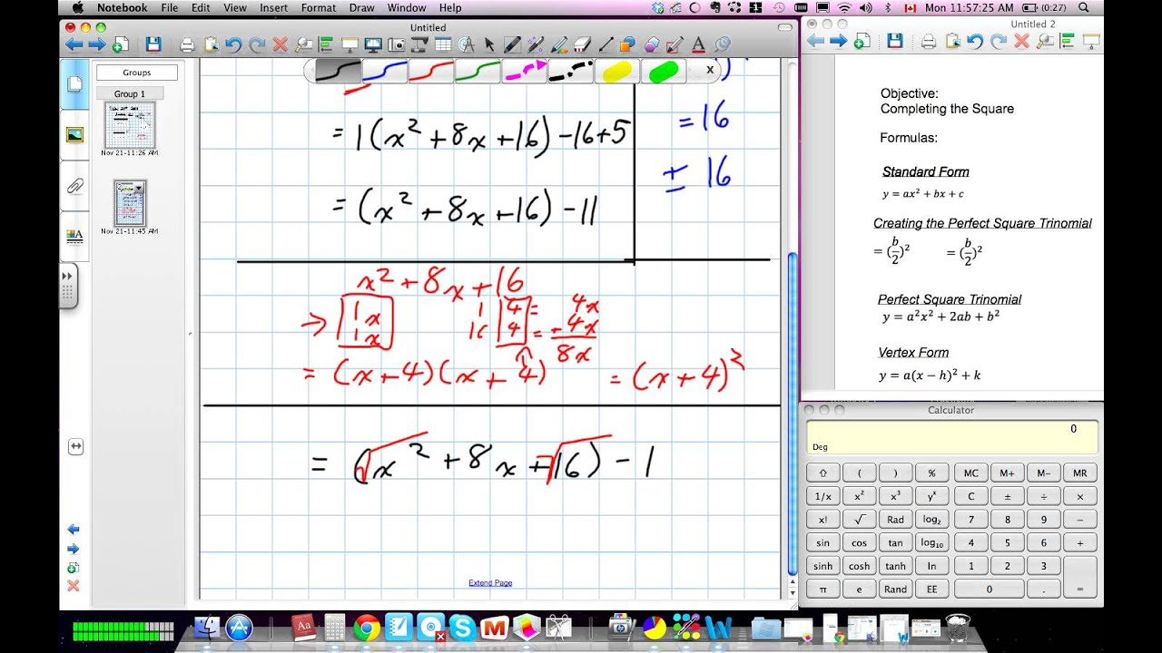 Completing The Square (grade 10 Academic Lesson 61 11:21:11)v