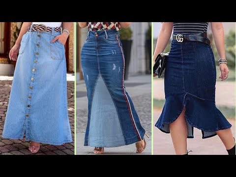 [VIDEO] - Long Denim Jeans Skirt Designs || Stylish Denim Skirt Outfit Ideas 1