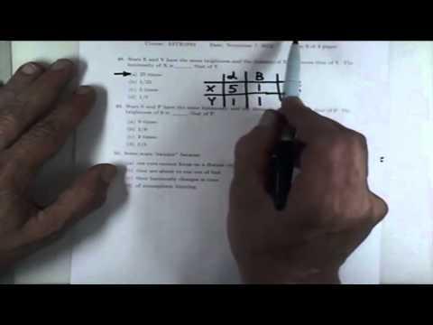 ASTR 1P01 CLIP 93: Sample Problems Using The Brightness Luminosity Relation