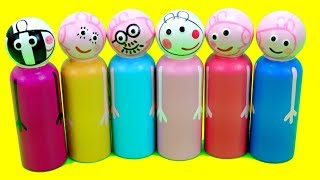 Baby Learn Colors Peppa Pig Wooden Toy Surprises! Baby Toy Preschool Finger Family Colours Kids ASMR