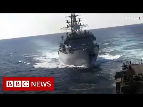 Russian and US warships almost collide - BBC News