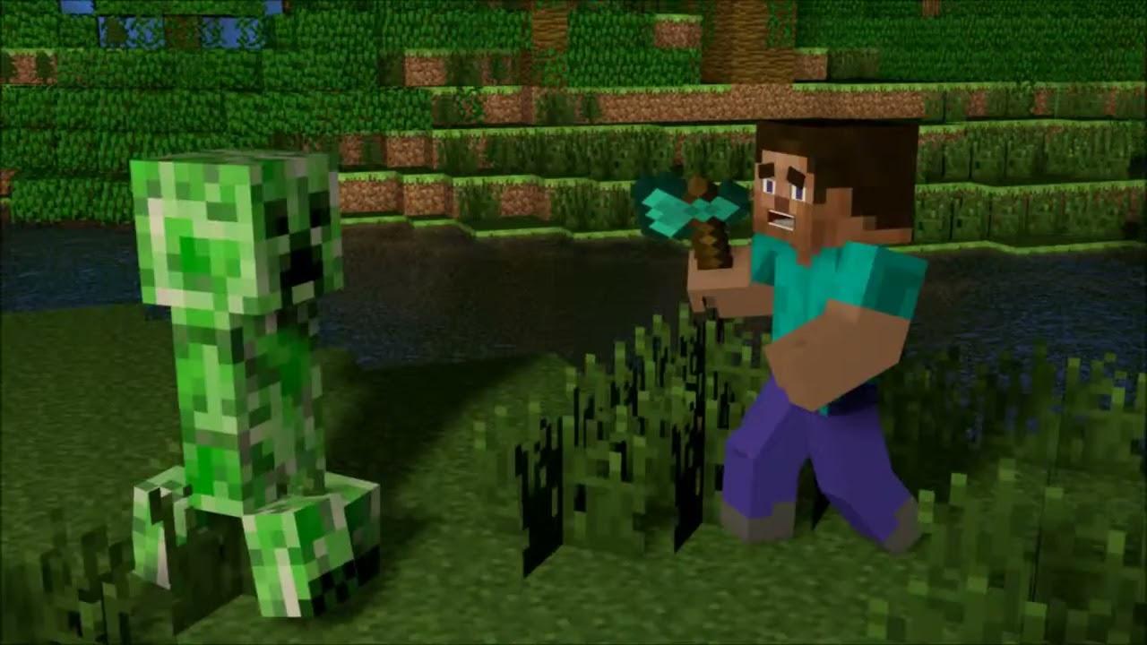 Wallpaper steve vs creeper free download youtube - Minecraft creeper and steve ...