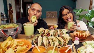 MEXICAN FOOD MUKBANG | TACOS, TOSTADAS, GUACAMOLE, AND MARGARITAS EATING SHOW!