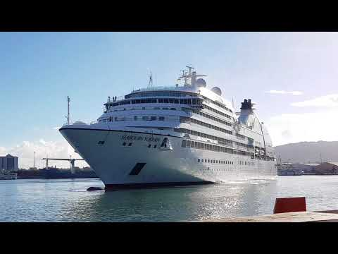 Arrival of Seabourn Sojourn in Port Louis Harbour, Mauritius