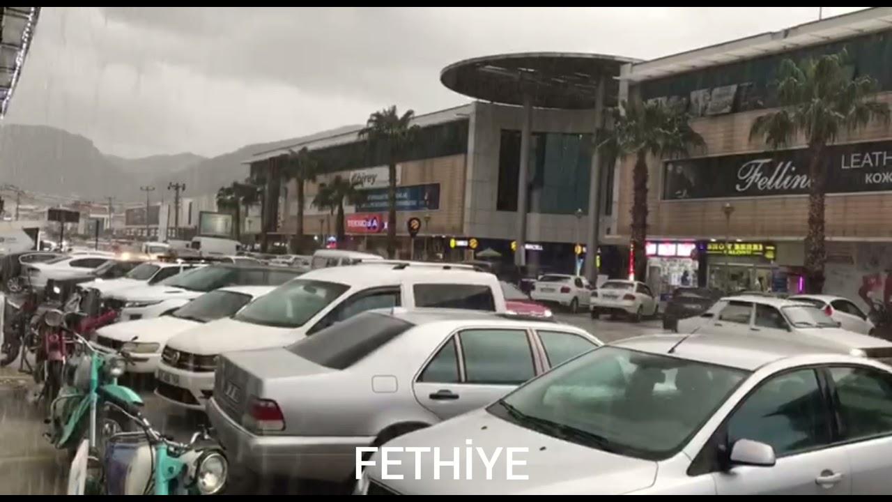 Fethiye ve Seydikemer'de yağış ve dolu