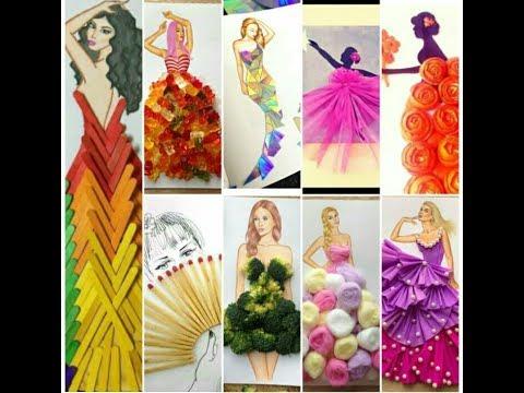 DIY Canvas Lady Dress Wall Art Ideas mixed with Craft  100+Hacks