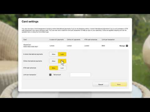Lock, Block and Limit credit card transactions in NetBank