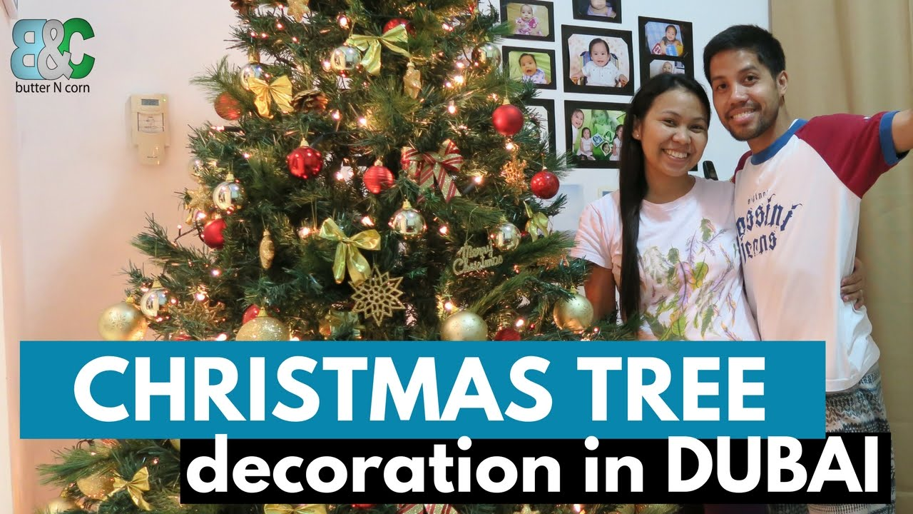 how to decorate christmas tree goldred theme buhay ng pinoy sa dubai youtube - Red And Gold Christmas Tree Decorations