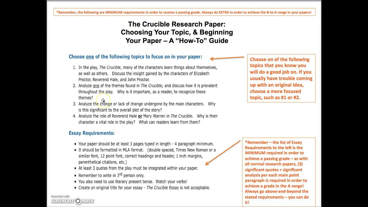 The crucible research paper