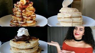 Fluffy pancakes 3 ways  Choc Chip, Mokka-caramel & Cinnamon roll
