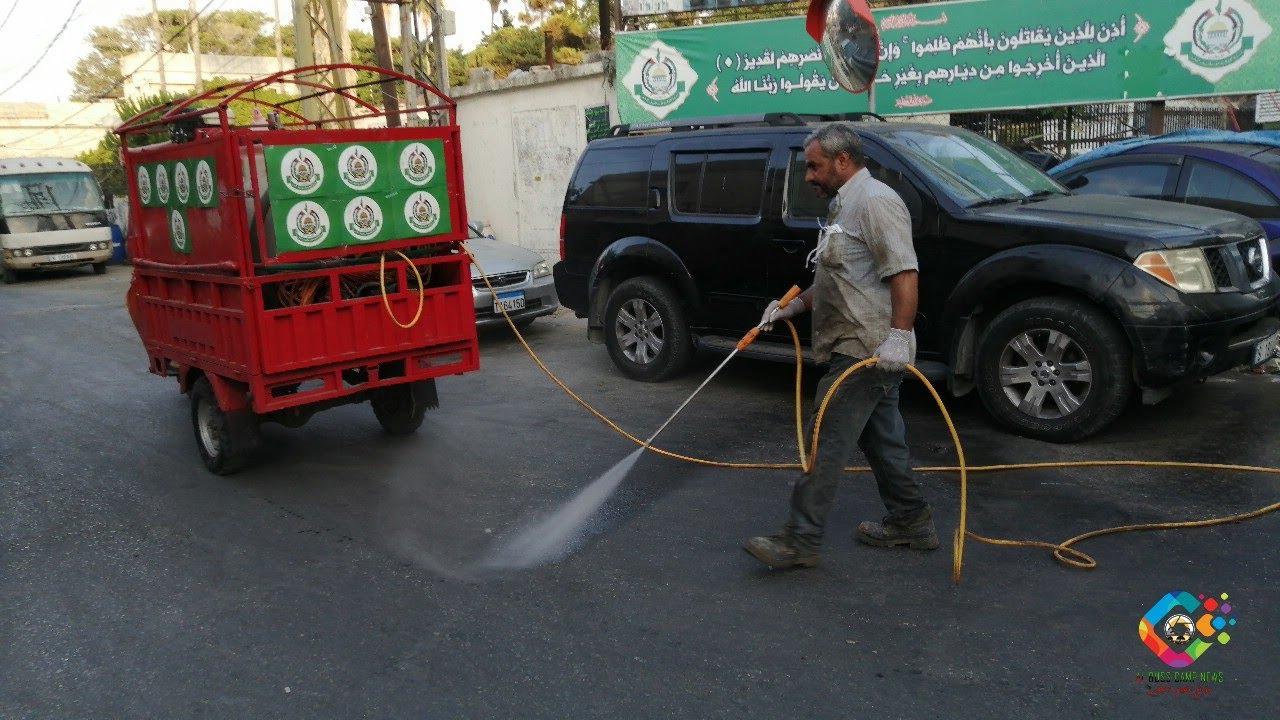 *جمعية الشفاء وصندوق الزكاة وحملة أهل الخير قاموا برش مبيدات للحشرات مخيم البص*