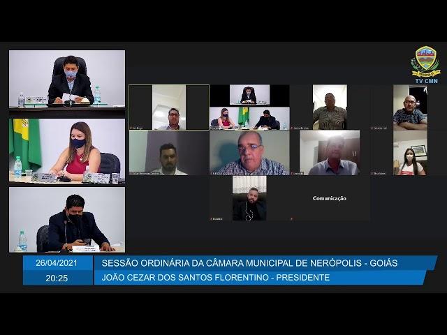 Sessão da Câmara Municipal de Nerópolis 26/04/2021