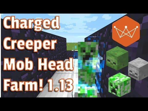 Minecraft Tutorial 1.13 Charged Creaper  Trap And Mob Head Farm Using The Trident Snapshot 18w09a