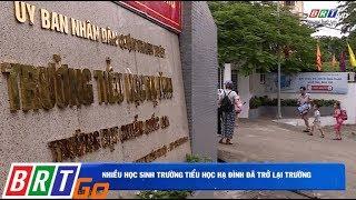 Nhiều học sinh trường tiểu học Hạ Đình đã trở lại trường