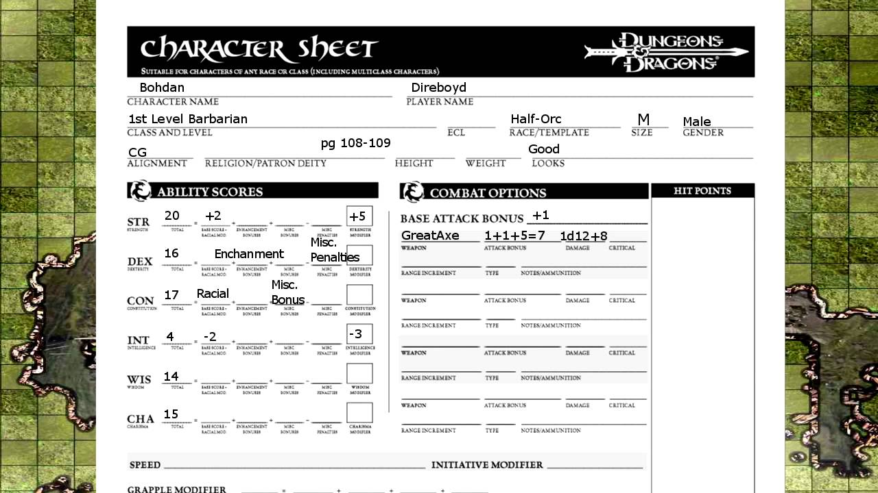 Critical image regarding dungeons and dragons character sheet printable