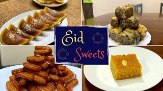 Eid Sweets | Qatayef | Biscuit Baklava | No Egg No Flour Orange Basbousa | Tulumba