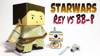 Star Wars BB8 and Rey Paper Crafts tutorial !