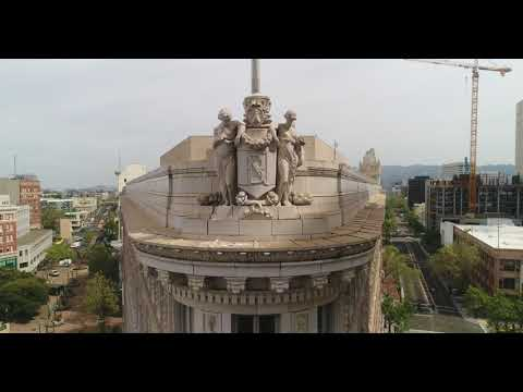 OAKLAND CALIFORNIA DOWNTOWN BEAUTIFUL DRONE FOOTAGE 4K