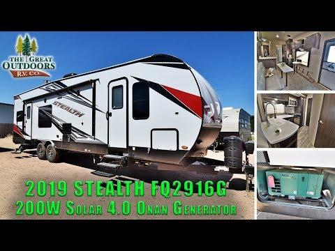 New 2019 STEALTH Toy Hauler FQ2916G 2OOW SOLAR POWER 4 0 Onan