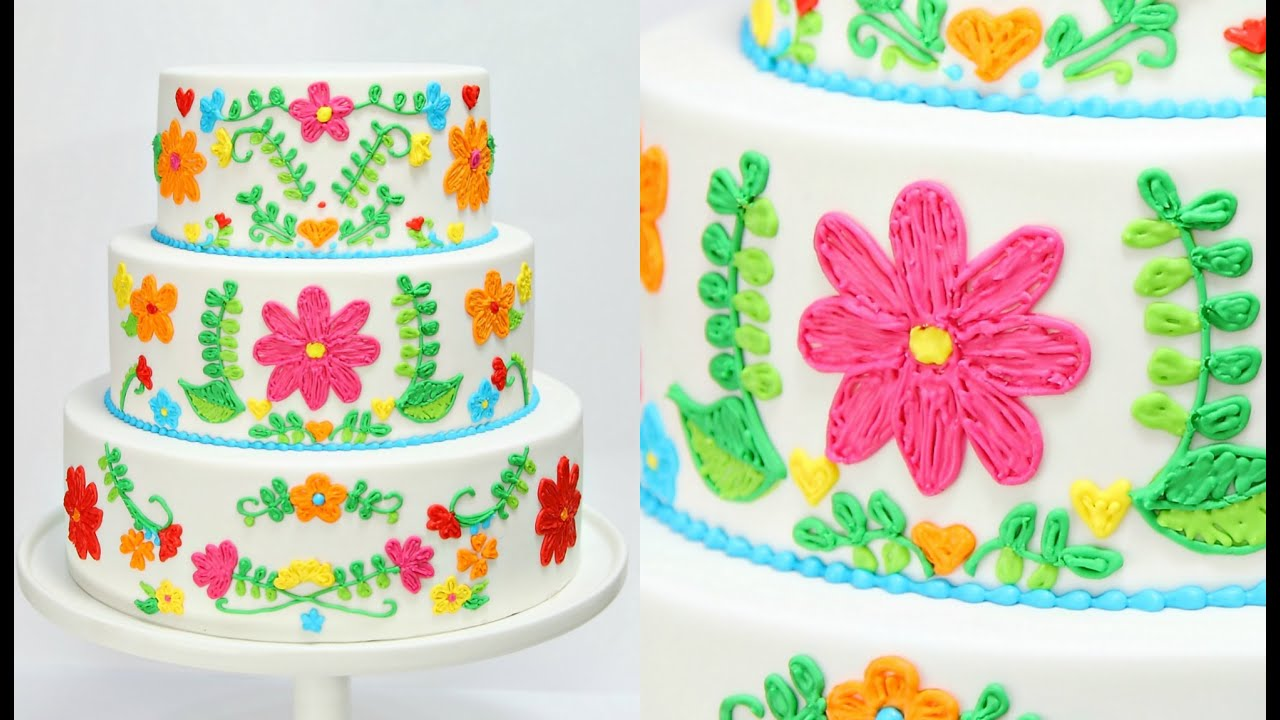 Cake Decorating Pictures : Embroidery WEDDING CAKE Decorating - CAKE STYLE - YouTube