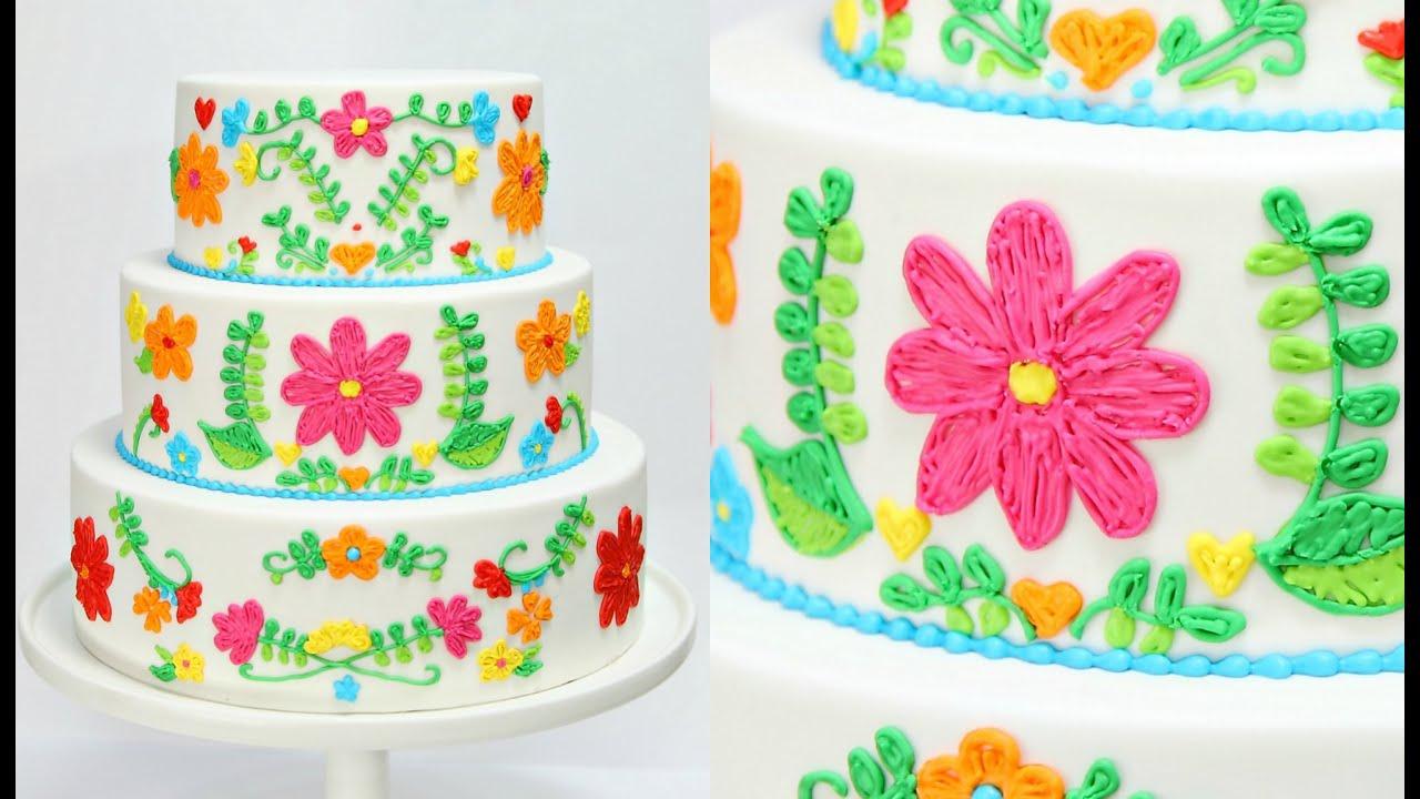 Embroidery Wedding Cake Decorating Cake Style Youtube