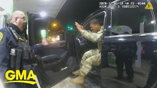 Police officers pepper spray Army officer during traffic stop