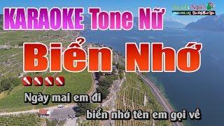 Biển Nhớ Karaoke || Tone Nữ - Nhạc Sống Thanh Ngân