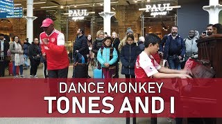 I Played DANCE MONKEY on Piano In Public At Train Station Cole Lam 12 Years Old