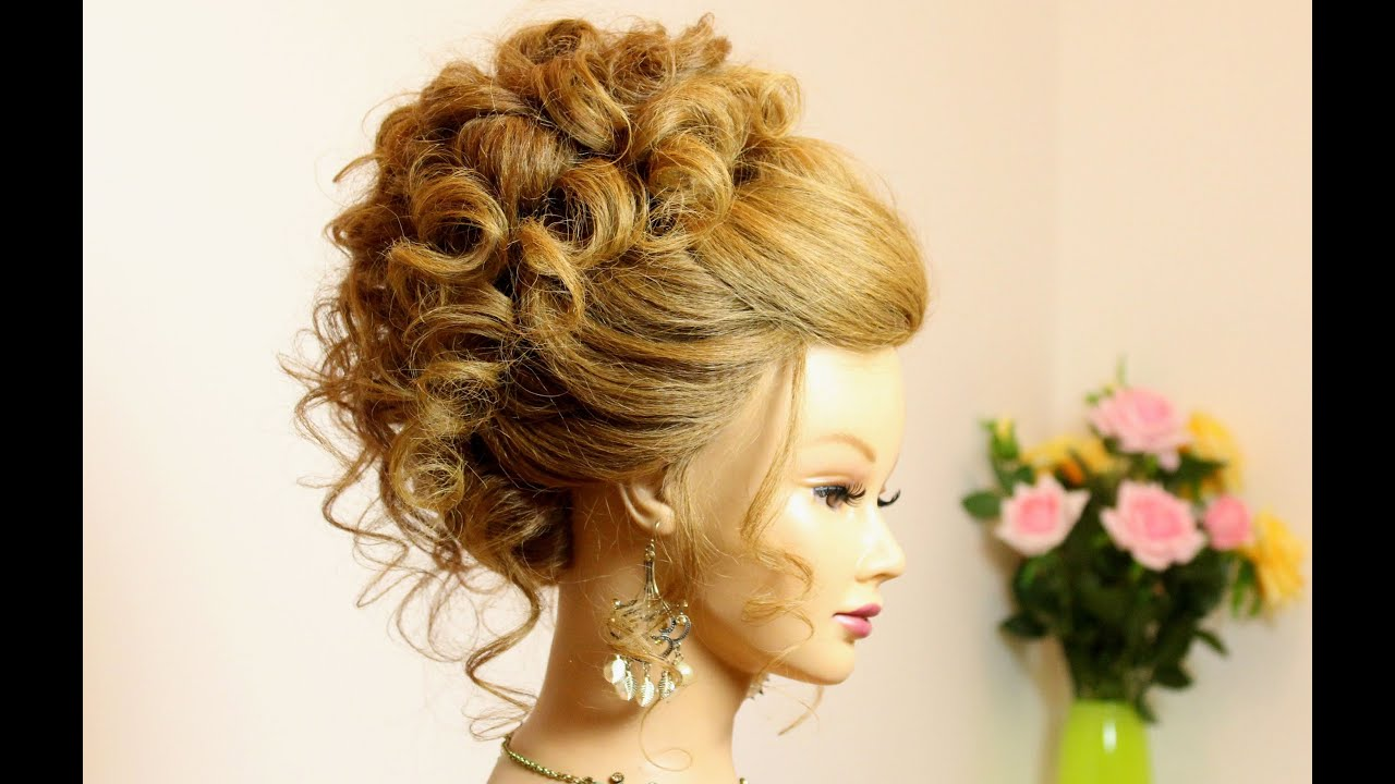 Hair Style Up For Wedding: Curly Hairstyle For Long Medium Hair. Wedding Prom Updo