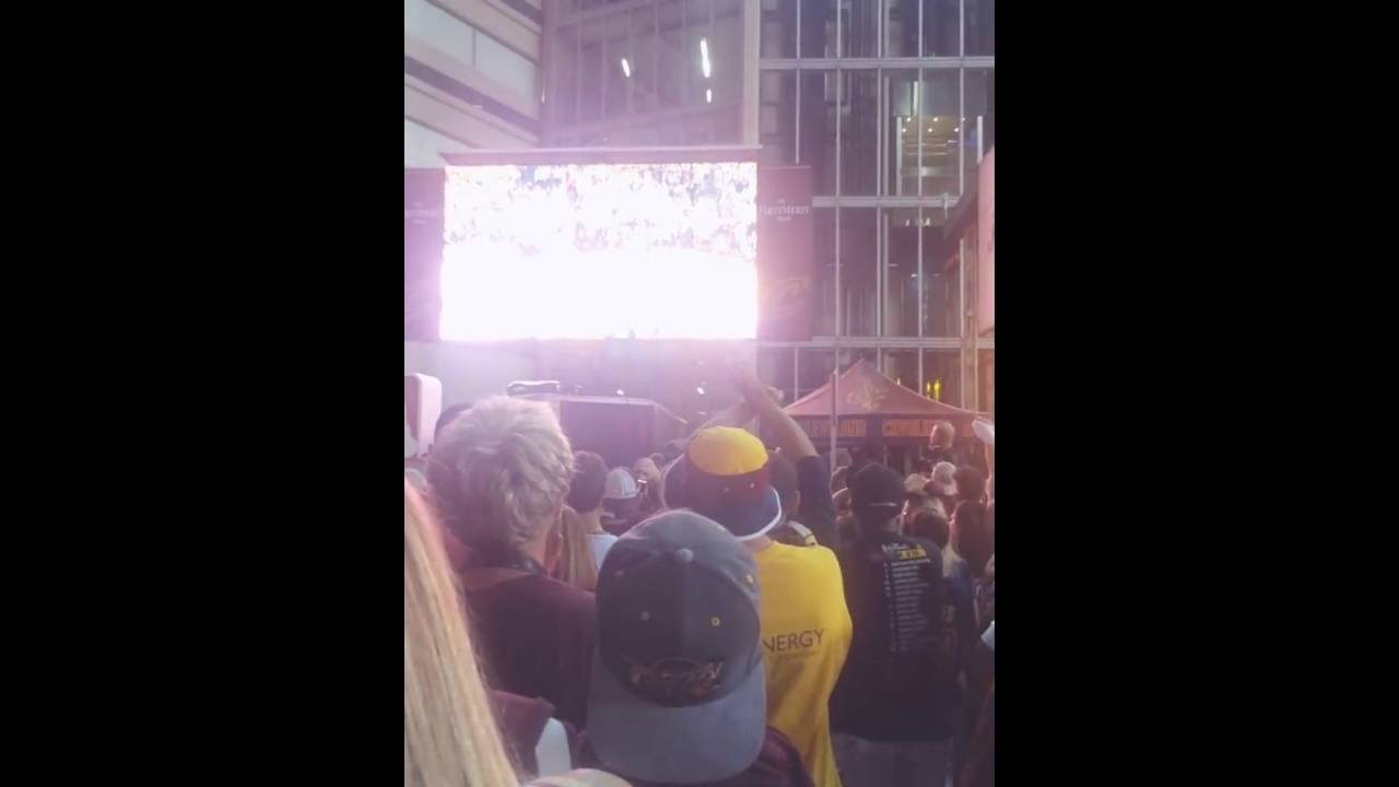 Crowd Reaction Outside Q Arena Cavaliers Finals Win Youtube