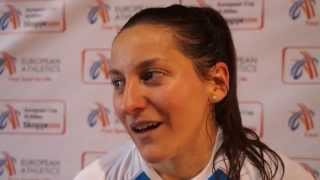 Clemence Calvin (FRA) after winning the EC 10.000m, Skopje 2014