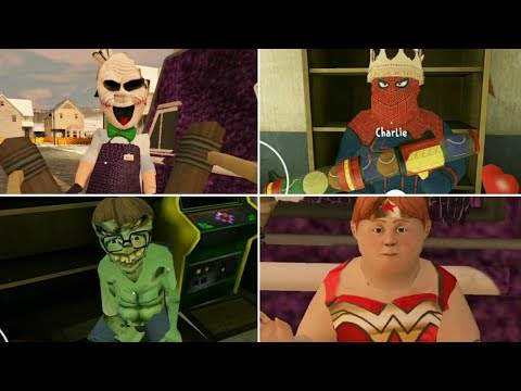 Joker Rod, Superman Lis, Hulk Mike, Spiderman Charlie Full Gameplay | Ice Scream 2