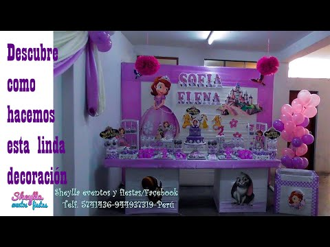 Sofia, mesa temática de dulces, decoracion de fiesta infantil, bocaditos personalizados