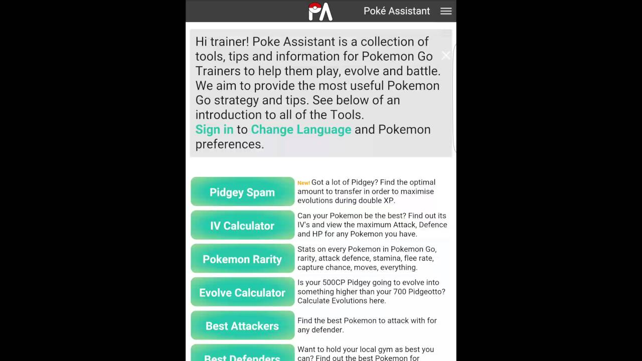 IV Calculator! Pokeassistant com is Your Pokémon GO Assistant!
