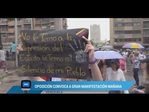 En Venezuela oposición convoca mañana una gran manifestación