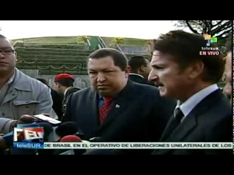 President Hugo Chavez meets with Sean Penn