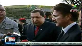 President Hugo Chavez meets with Sean Penn