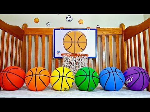 Learn Colors for Children with Colored Basketballs - Fun Learning Video for Toddlers and Babies