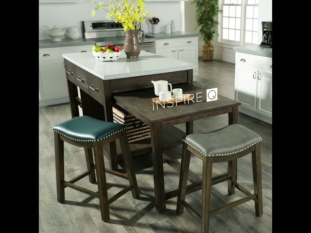 Faux Leather Backless Stools by iNSPIRE Q Classic