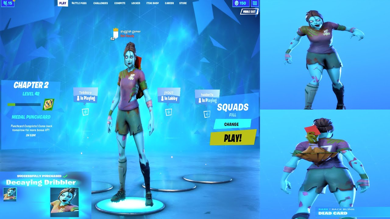 Unlocking The Decaying Dribbler Zombie Soccer Skin Outfit With Dead Card Back Bling In Fortnite