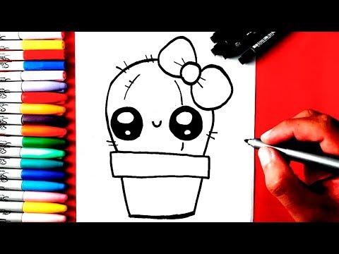 Como desenhar CACTOS KAWAII