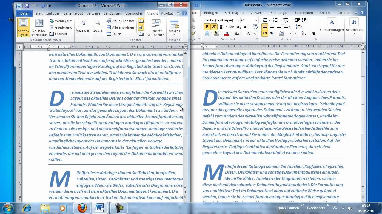 Word 2010 - Zwei Dokumente vergleichen mithilfe des synchronen ...