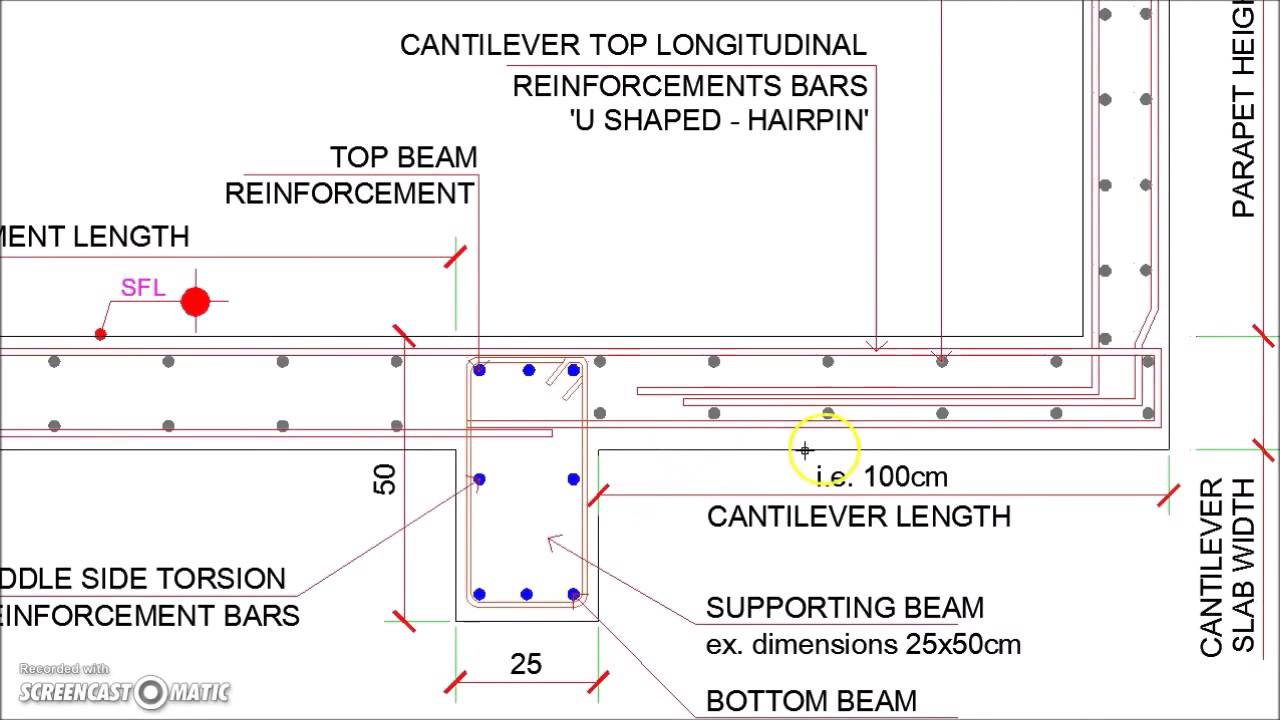 Cantilever Veranda Slab With Parapet Wall Detail Youtube